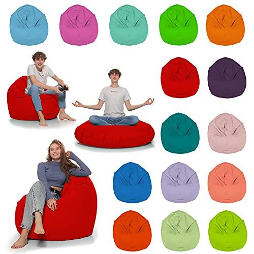 HomeIdeal - Sitzsack 2-in-1 Funktionen Bodenkissen für Erwachsene & Kinder - Gaming oder Entspannen - Indoor & Outdoor da er Wasserfest ist - mit EPS Perlen, Farbe:Rot, Größe:110 cm Durchmesser