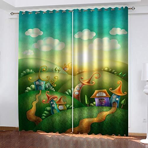 WLHRJ Cortina Opaca en Cocina el Salon dormitorios habitación Infantil 3D Impresión Digital Ojales Cortinas termica - 264x210 cm - Casita de Dibujos Animados