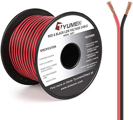 TYUMEN 100FT 16 Gauge 2pin 2 Color Red Black Cable Hookup Electrical Wire LED Strips Extension product image