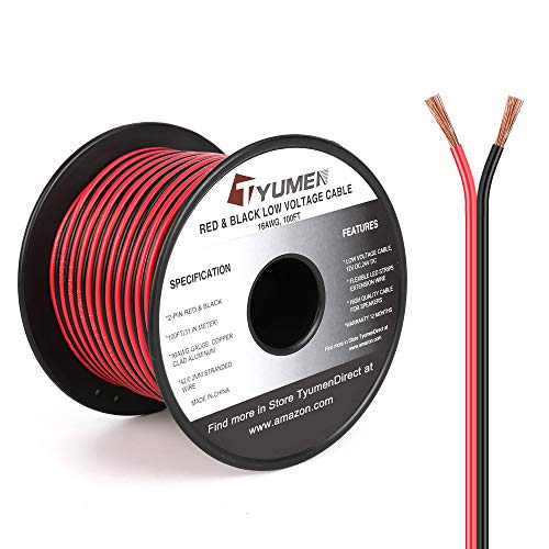 TYUMEN 100FT 16 Gauge 2pin 2 Color Red Black Cable Hookup Electrical Wire LED Strips Extension Wire 12V/24V DC Cable, 16AWG Flexible Wire Extension Cord for LED Ribbon Lamp Tape Lighting