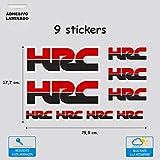 9 Pegatinas Adhesivo Vinilo de Impresión Digital Laminado para Moto Coche PATROCINADOR Sponsors Color Rojo Negro 9 Pegatinas