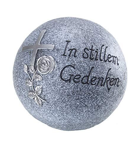"""Bambelaa! Grab-Dekokugel Trauerartikel Friedhof Inschrift """"In stillem Gedenken"""" Steinharz Grau Ca. 18cm"""