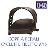Coppia pedali per CYCLETTE CICLO BICI da CAMERA con cinghiette FILETTO 9/16 14mm