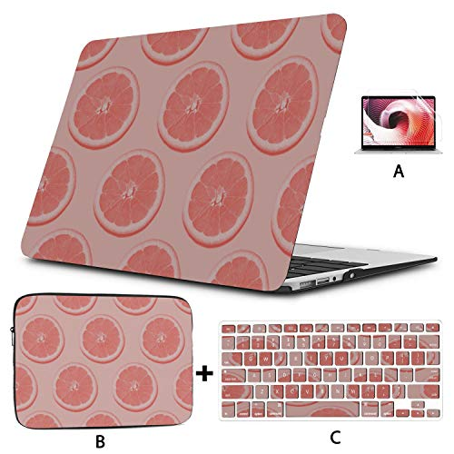 MacBook Hard Case Cool Colorful Summer Grapefruit Fruit MacBook Air 13 Accessories Hard Shell Mac Air 11'/13' Pro 13'/15'/16' with Notebook Sleeve Bag for MacBook 2008-2020 Version