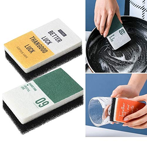 XGQ 2 PCS/Set de Cocina Hogar Pot Lavadora Lavavajillas Artefacto Estropajo Descontaminación Esponja mágica Wipe Wipe (Blanco Naranja) (Color : Yellow Green)