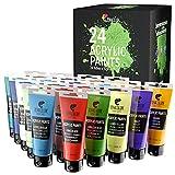 Kit de 24 Pinturas Acrílicas, 24 Tubos de 120ml, 24 Colores Zenacolor - Pinturas para Lienzo, Maderas, Ocios Creativos, tanto para Adultos.
