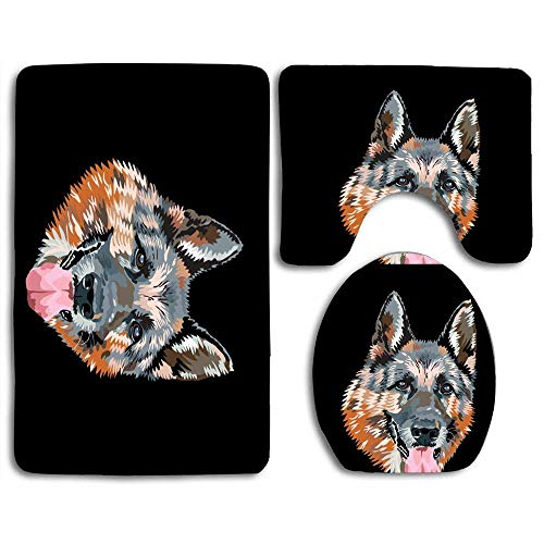N\A Otto The German Shepherd Print 3-teiliges Badteppichset Contour Mat Toilettensitzbezug