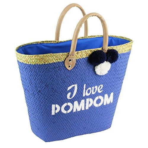 Les Trésors De Lily [Q1176] - Strandtasche 'I Love Pompom' blau - 50x28 cm.