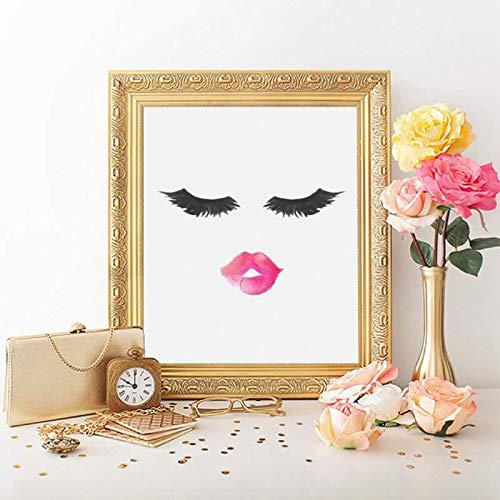 Frameloze olieverf Wimper Print Lippen En Wimpers Make Muur Canvas ng Mode Mascara En Lippenstift Foto Home60x90cm