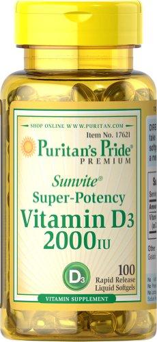 Puritan's Pride Sunvite Super High Potency Vitamin D3 2000IU 100 Softgels
