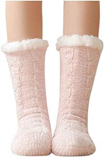 LUNULE, Calcetines De Algodón De Invierno Para Mujer Color Sólido Mujer Antideslizante Calientes Calcetines Zapatillas de casa Gruesos Calcetines de piso casa abrigados Invierno Térmico Calcetines