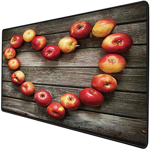 Mouse Pad Gaming Functional Modern Thick Waterproof Desktop Mouse Mat Rustic Style Home Cafe Decor Wooden Surface Fresh Apples Image Art Veggies Fruit Decorative,Brown Red Non-slip Rubber Base