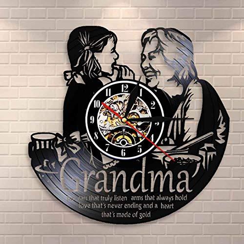 LIMN Reloj de Pared Personalizado para Abuela y Nieta, Reloj de Vinilo con diseño de Pared, Cita de mamá, Regalo de inauguración de la casa para Abuela, Relojes de Pared