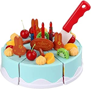 NUOBESTY 38PCS Kids Pretend Birthday Cake Cutting Toys Fruits Cake Cooking playset Educational Toys (Blue)