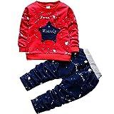 T L 2 en 1 Niños Estrella de Cinco Puntas de inyección de Tinta Dot patrón de la Letra Camisa de Manga Larga + Pantalones Set, Altura: 100 cm (Azul Claro) (Color : Red)