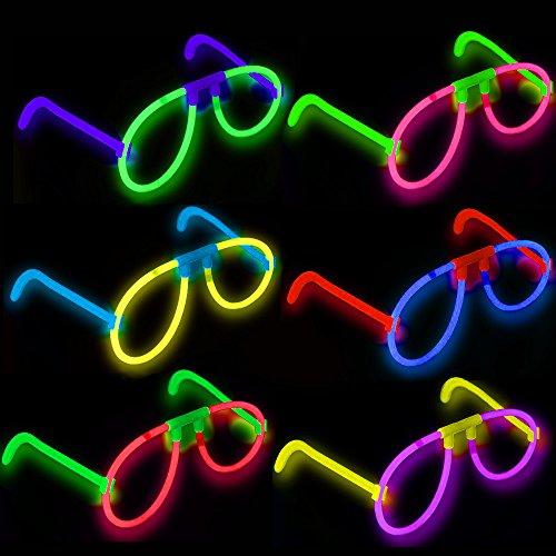 German Trendseller® - 6 x Magische Leucht - Brillen┃ LED ┃ KNALLBUNT ┃ Farb MIX ┃ Kindergeburtstag ┃ Schatzsuche ┃ Mitgebsel ┃ 6 Stück