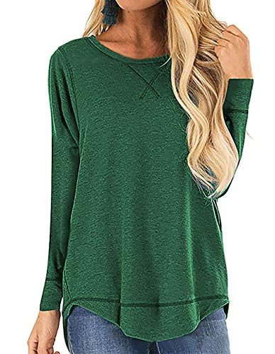 QAKEHU Damen T-Shirt Rundhals Kurzarm und Langarm Oberteil Tunika Bluse mit Schlitz Green XL