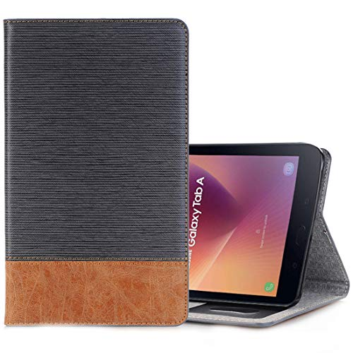 ZENGMING Tablet PC Case Cover for Galaxy Tab A 8.0 (2017) / T385 Cross Texture Horizontal Flip Case Cover with Card Slots & Holder & Wallet (Coffee) (Color : Grey)