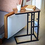 LUMI C Table for Sofa  Adjustable Sofa Side Table Slide Under Your Couch or Bed. Perfect as Snack or Laptop Table for Couch. Size 17.71'x10.04'x24.8-28.74' (Black Structure, Rustic Brown Top)