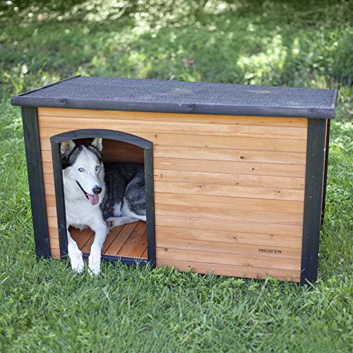 Precision Pet by Petmate Extreme Weather-Resistant Log Cabin Dog House With Adjustable Feet, 4 Sizes Available, Medium, Natural Wood