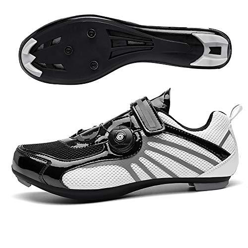 LU-Model Premium Triathlon Fahrradschuhe - Ultraleichte, atmungsaktive und Fiberglas Sohle | Der schnellste Schuh in der Übergangszone! Black/White-43
