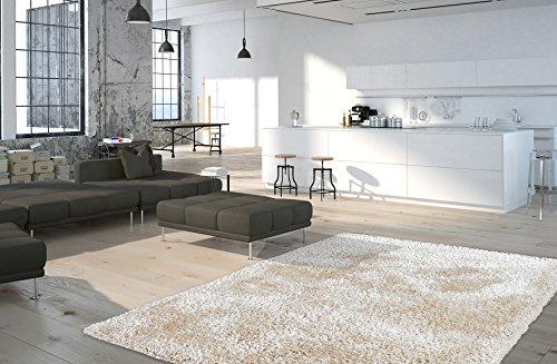 Obsession Moderner Teppich My Touch Me, ganz weicher, Softer Teppich in Aktuellen Trendfarben Weiss, Silber, Stein, Creme, Taupe, Petrol (120 x 170 cm, TOU 370 Bone Elfenbein)
