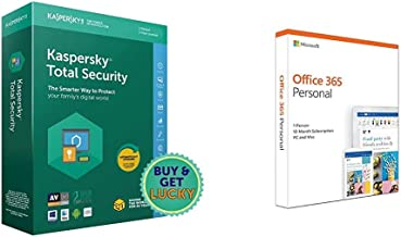 Kaspersky Total Security - 1 User, 1 Year (CD)&Microsoft Office 365 Personal for 1 user (Windows/Mac), 12 month/1 Year (Activation Key Card)