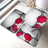 RedBeans - Juego de 3 alfombrillas de baño, diseño de torre Eiffel de París con paraguas rojo antideslizante, incluye alfombrilla de baño suave y funda para asiento de inodoro