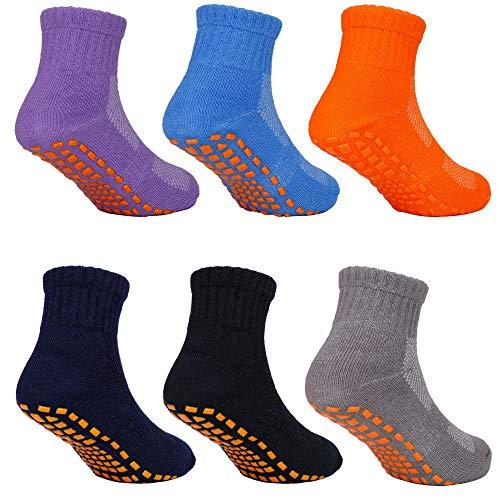 MaoXinTek Calcetines Antideslizantes para Niños Pequeños Algodón Lindo con Puños, Calentar 6 Pares de Zapatillas Calcetines de Piso de Corte Bajo con Silicona para 4-6 años de Bebés y Niñas