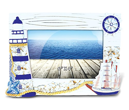 Puzzled Resin Blue Ship & Lighthouse Picture Frame, 6 X 4 Inch Sculptural Photo Holder Intricate & Meticulous Detailing Art Handcrafted Tabletop Accent Accessory Coastal Nautical Themed Home Décor