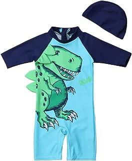 Karuedoo Kids Baby Boy 3D Dinosaur Swimsuit One Piece Surfing Suits Beach Swimwear Rash Guard with Hat