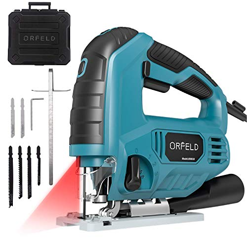 Jigsaw,ORFELD Power Jig Saws 6.5Amp 3200SPM with Laser Guide & LED, Variable Speed, 6 Blades,±45°Bevel Cutting Angle, Adjustable Aluminum Base, 10ft Cord,Pure Copper Motor and Scale Ruler