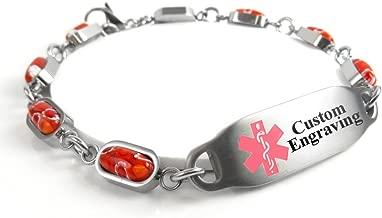 My Identity Doctor - Custom Engraving Medical Alert Bracelet - 5mm Steel & Glass