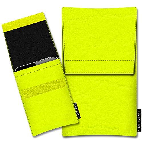 SIMON PIKE Hülle Tasche kompatibel mit Wiko Darkside | Schutztasche Sidney in 01 Neongelb aus Kunstleder Handyhülle