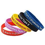 Type 2 Diabetes Bracelet Insulin Dependent Medical Alert - Black, Blue, Pink, Yellow, Red (All Bracelets)