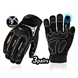 Vgo 3-Pairs High Dexterity Heavy Duty Mechanic Glove, Rigger Glove, Anti-vibration, Anti-abrasion, Touchscreen (Size XL, Black, SL8849)