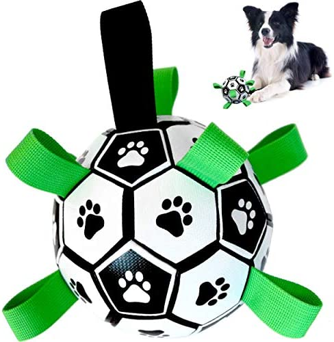 Dog Toys – Dog Football with Straps for Interactive Fetch & Tug Games. Durable Dog Ball Toy for Water, Garden & Outdoors
