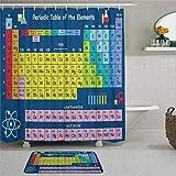 EricauBird Periodensystem der chemischen Duschvorhang mit Ringen, Polyestergewebe, Duschvorhänge mit Haken, Bad-Dekor
