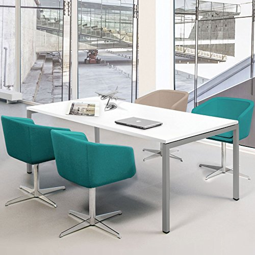 Weber Büroleben GmbH Profi Besprechungstisch 160x80cm NOVA U 4-6 Pers. Konferenztisch Meetingtisch, Gestellfarbe:Silber
