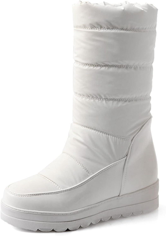 DoraTasia Women's Platform Non Slip Faux Fur Mid Calf Snow Boots