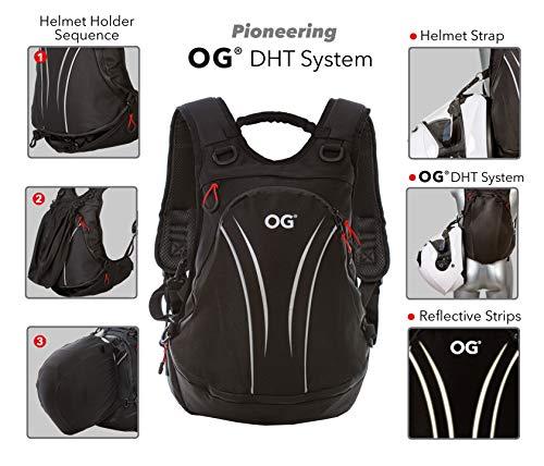 OG Online&Go Roadrunner Motorrad-Rucksack Wasserdicht Schwarz Leicht 20-30l, Motorradhelm-Tasche, Helm-Trageriemen, Fahrrad-Rucksack, Anti-Diebstahl, Laptop-Fach, Reflektierend - 2