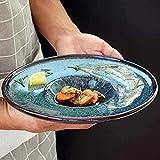 Cuenco Vajilla de cerámica País Americano Sombrero de Paja Pintado a Mano Forma Plato de Pasta Plato de Ensalada de Frutas Plato de Postre de sándwich Plato de Sopa de 9,84 Pulgadas esmaltado