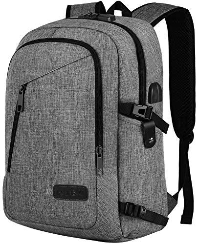 Rucksack Herren, Schulrucksack mit USB-Ladeanschluss, Wasserdicht Laptop Rucksack 15,6 Zoll für Arbeit Reisen Schule Herren Oxford 30-45L
