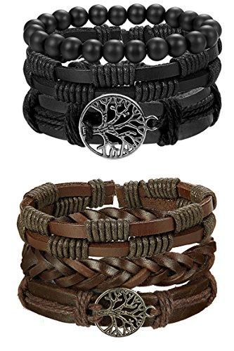FIBO STEEL 6 Pcs Leather Bracelet for Men Women Tribal Bracelets Leather Wristbands Adjustable SMS