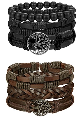FIBO STEEL 6 Pcs Leather Bracelet for Men Women Tribal Bracelets Leather Wristbands Adjustable SMS