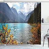 Ambesonne Landscape Shower Curtain, Lake Louise Banff National Park...