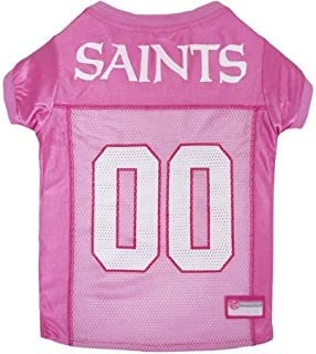 MattsGlobal NFL New Orleans Saints Satin and Poly Mesh Pet Pink Jersey