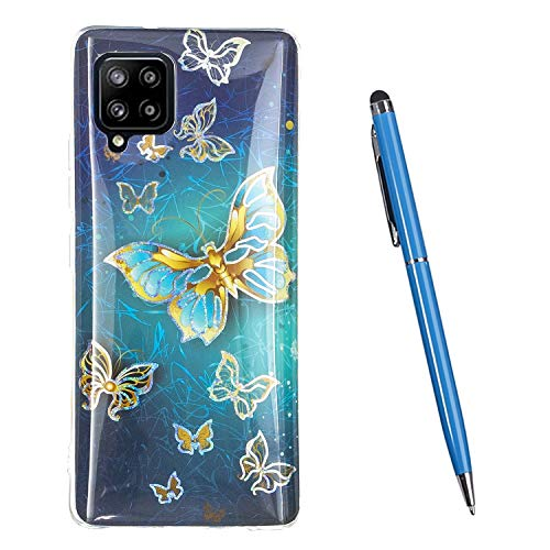 TOUCASA Kompatibel mit Galaxy A42 Hülle, [Painted Muster Design] TPU Silikon Ultra-dünn Protective Handytasche Transparenter Stoßfänger [Shockproof] Schutzhülle für Galaxy A42 (Schmetterling)