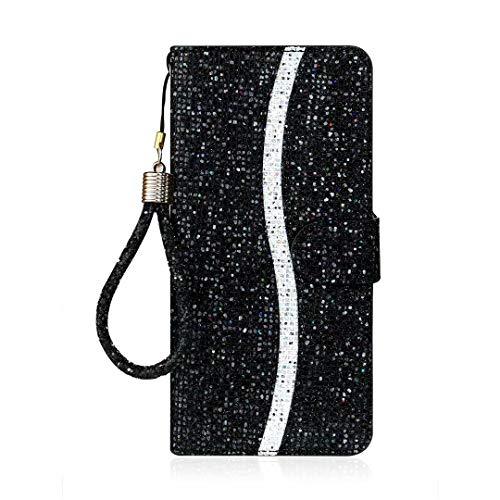 Hülle Case für iPhone 6, iPhone 6S Tasche Crystal Glitzer Diamant Handyhülle PU Leder Wallet Schutzhülle Handytasche Ständer Pflaumenblüte Liebe Kreditkarten Halter Magnetische Mädchen schwarz