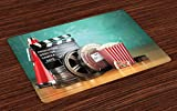 Ambesonne Movie Theater Place Mats Set of 4, Production Theme 3D Film Reels Clapperboard Tickets Popcorn and Megaphone, Washable Fabric Placemats for Dining Table, Standard Size, Seafoam